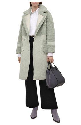 Женская шуба VEGANCODE светло-зеленого цвета, арт. BJ18096   Фото 2 (Материал внешний: Синтетический материал; Рукава: Длинные; Длина (верхняя одежда): До колена; Женское Кросс-КТ: Экомех)