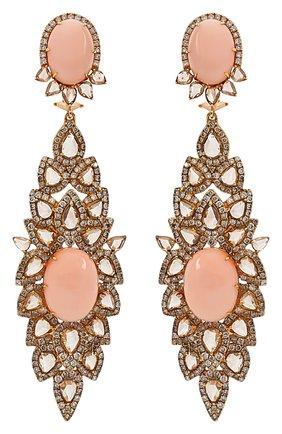 Женские серьги SUTRA JEWELS бесцветного цвета, арт. SJE1885 | Фото 1 (Драгоценные камни: Другие, Бриллианты; Материал сплава: Розовое золото)