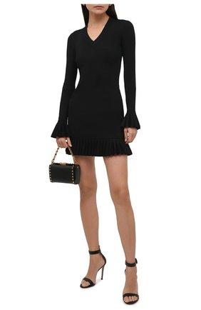 Женское платье из вискозы KHAITE черного цвета, арт. 8673400/LULU | Фото 2 (Рукава: Длинные; Длина Ж (юбки, платья, шорты): Мини; Случай: Повседневный; Кросс-КТ: Трикотаж; Материал внешний: Вискоза; Стили: Бохо; Женское Кросс-КТ: Платье-одежда)
