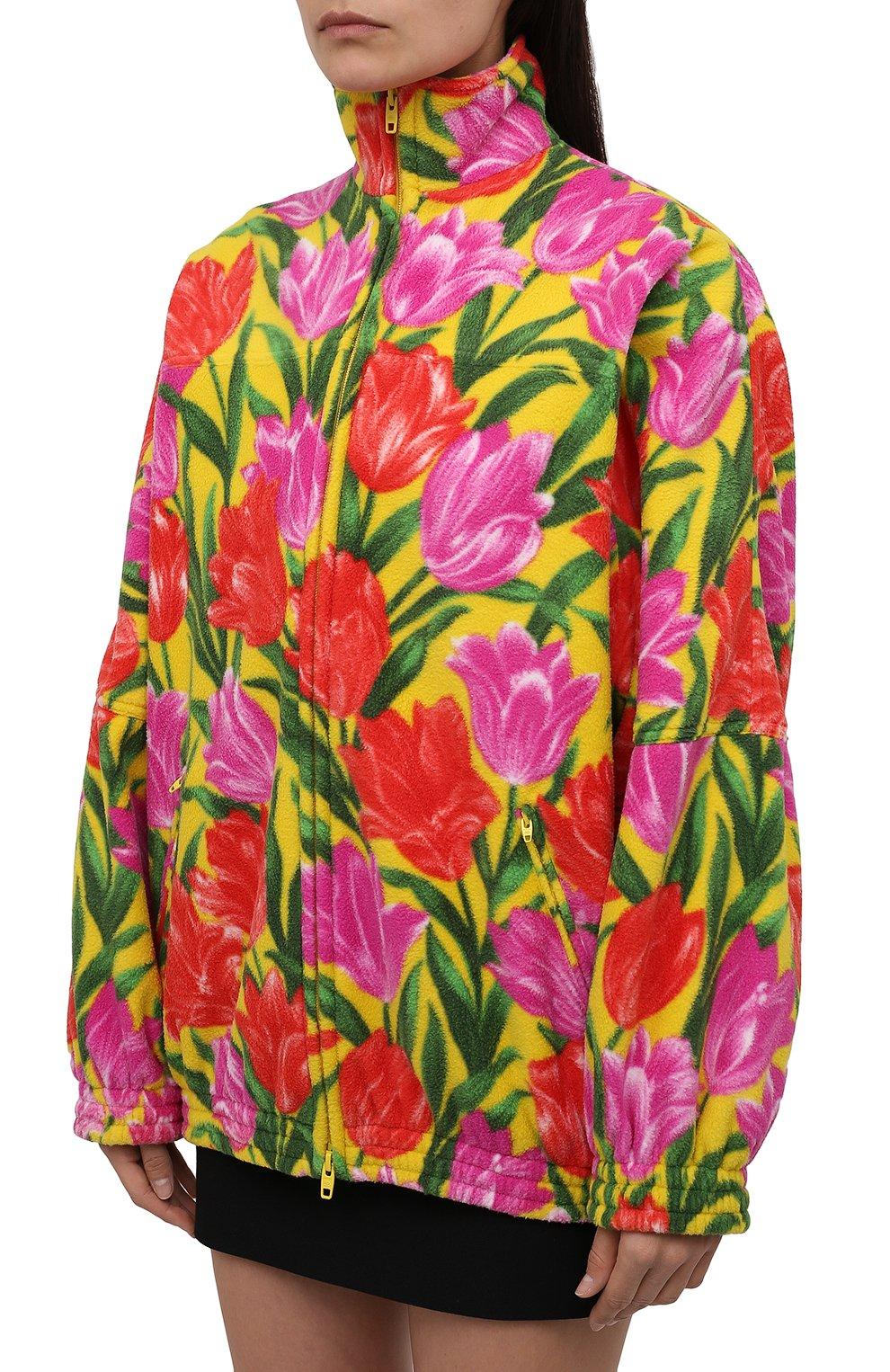 Женская куртка BALENCIAGA желтого цвета, арт. 678409/TLLB5 | Фото 3 (Кросс-КТ: Куртка; Рукава: Длинные; Длина (верхняя одежда): До середины бедра; Материал внешний: Синтетический материал; Стили: Спорт-шик; Материал подклада: Синтетический материал)