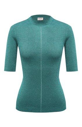Женский пуловер SAINT LAURENT голубого цвета, арт. 670561/Y75GJ   Фото 1 (Длина (для топов): Стандартные; Материал внешний: Синтетический материал, Металлизированное волокно; Рукава: 3/4; Женское Кросс-КТ: Пуловер-одежда; Стили: Романтичный)