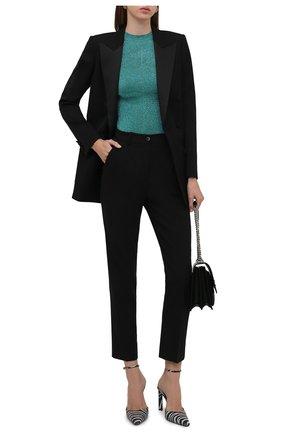 Женский пуловер SAINT LAURENT голубого цвета, арт. 670561/Y75GJ   Фото 2 (Длина (для топов): Стандартные; Материал внешний: Синтетический материал, Металлизированное волокно; Рукава: 3/4; Женское Кросс-КТ: Пуловер-одежда; Стили: Романтичный)