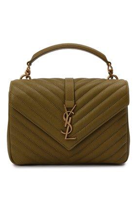 Женская сумка college medium SAINT LAURENT хаки цвета, арт. 600279/BRM07 | Фото 1 (Материал: Натуральная кожа; Сумки-технические: Сумки top-handle, Сумки через плечо; Ремень/цепочка: На ремешке; Размер: medium)