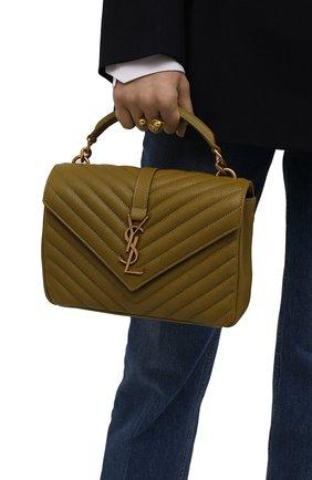 Женская сумка college medium SAINT LAURENT хаки цвета, арт. 600279/BRM07 | Фото 2 (Материал: Натуральная кожа; Сумки-технические: Сумки top-handle, Сумки через плечо; Ремень/цепочка: На ремешке; Размер: medium)