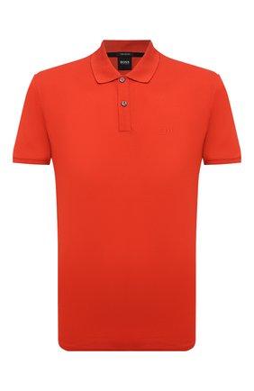 Мужское хлопковое поло BOSS красного цвета, арт. 50425985   Фото 1 (Материал внешний: Хлопок; Рукава: Короткие; Длина (для топов): Стандартные; Застежка: Пуговицы; Стили: Кэжуэл)