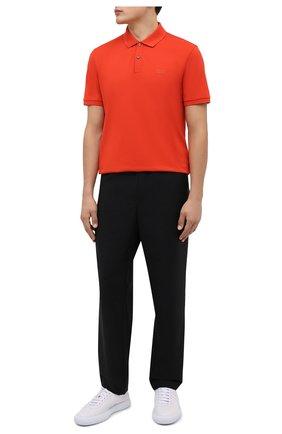 Мужское хлопковое поло BOSS красного цвета, арт. 50425985   Фото 2 (Материал внешний: Хлопок; Рукава: Короткие; Длина (для топов): Стандартные; Застежка: Пуговицы; Стили: Кэжуэл)