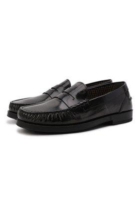 Мужские кожаные пенни-лоферы TOD'S темно-серого цвета, арт. XXM02I00641SHC   Фото 1 (Материал внутренний: Текстиль; Стили: Кэжуэл)