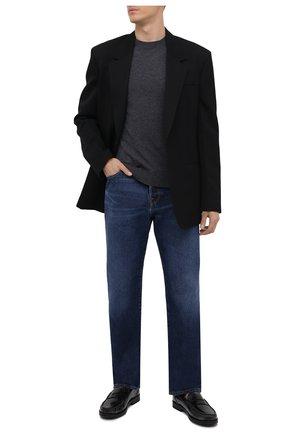 Мужские кожаные пенни-лоферы TOD'S темно-серого цвета, арт. XXM02I00641SHC   Фото 2 (Материал внутренний: Текстиль; Стили: Кэжуэл)