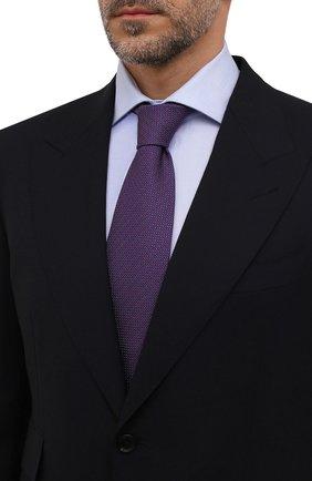 Мужской галстук из шелка и хлопка VAN LAACK фиолетового цвета, арт. LUIS-EL/K04212   Фото 2 (Материал: Хлопок, Шелк, Текстиль; Принт: С принтом)