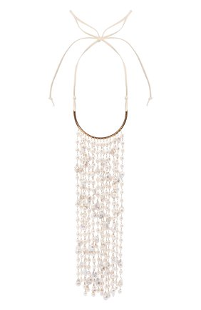Женское колье JIL SANDER золотого цвета, арт. JSWT831178/WTS80070   Фото 1 (Материал: Металл, Жемчуг)