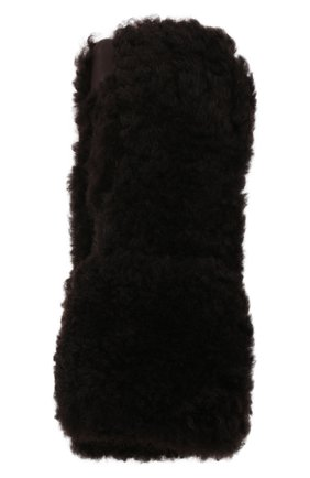 Женские перчатки из овчины BOTTEGA VENETA темно-коричневого цвета, арт. 649949/3V541 | Фото 1 (Материал: Натуральный мех)