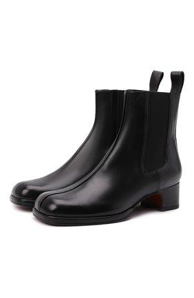 Женские кожаные ботинки square toe MANU ATELIER черного цвета, арт. 2021318 | Фото 1 (Каблук высота: Низкий; Подошва: Плоская; Материал внутренний: Натуральная кожа; Каблук тип: Устойчивый; Женское Кросс-КТ: Челси-ботинки)