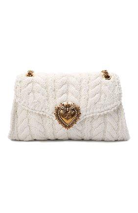 Женская сумка devotion DOLCE & GABBANA белого цвета, арт. BB6949/AQ149 | Фото 1 (Материал: Текстиль; Ремень/цепочка: На ремешке; Размер: medium; Сумки-технические: Сумки через плечо)