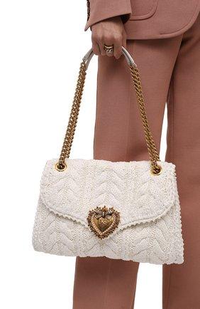 Женская сумка devotion DOLCE & GABBANA белого цвета, арт. BB6949/AQ149 | Фото 2 (Материал: Текстиль; Ремень/цепочка: На ремешке; Размер: medium; Сумки-технические: Сумки через плечо)