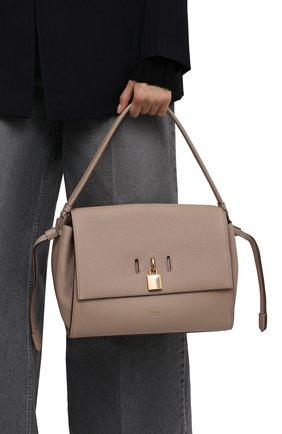 Женская сумка padlock medium TOM FORD бежевого цвета, арт. L1500T-LCL095   Фото 2 (Материал: Натуральная кожа; Сумки-технические: Сумки top-handle; Размер: medium; Ошибки технического описания: Нет ширины)