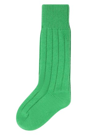 Женские кашемировые носки BOTTEGA VENETA зеленого цвета, арт. 670179/V0900   Фото 1 (Материал внешний: Кашемир, Шерсть)