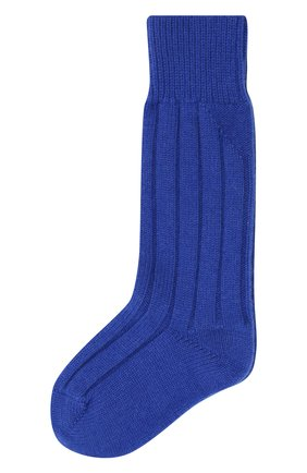 Женские кашемировые носки BOTTEGA VENETA синего цвета, арт. 670179/V0900   Фото 1 (Материал внешний: Кашемир, Шерсть)
