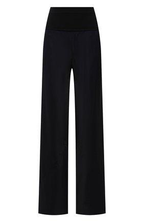 Женские брюки из вискозы JIL SANDER темно-синего цвета, арт. JSWT305003-WT381500 | Фото 1 (Материал внешний: Вискоза; Длина (брюки, джинсы): Стандартные; Женское Кросс-КТ: Брюки-одежда; Силуэт Ж (брюки и джинсы): Расклешенные; Стили: Минимализм)