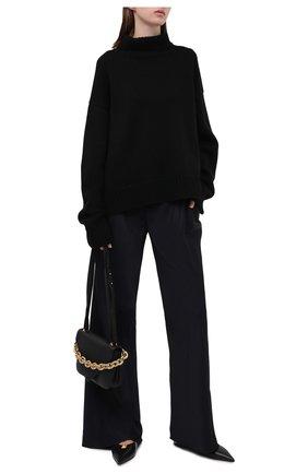 Женские брюки из вискозы JIL SANDER темно-синего цвета, арт. JSWT305003-WT381500 | Фото 2 (Материал внешний: Вискоза; Длина (брюки, джинсы): Стандартные; Женское Кросс-КТ: Брюки-одежда; Силуэт Ж (брюки и джинсы): Расклешенные; Стили: Минимализм)