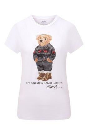 Женская хлопковая футболка POLO RALPH LAUREN белого цвета, арт. 211846851 | Фото 1 (Материал внешний: Хлопок; Женское Кросс-КТ: Футболка-одежда; Рукава: Короткие; Длина (для топов): Стандартные; Стили: Спорт-шик)