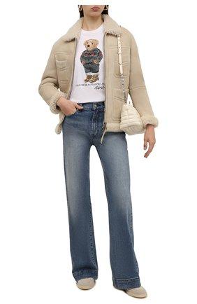 Женская хлопковая футболка POLO RALPH LAUREN белого цвета, арт. 211846851 | Фото 2 (Материал внешний: Хлопок; Женское Кросс-КТ: Футболка-одежда; Рукава: Короткие; Длина (для топов): Стандартные; Стили: Спорт-шик)