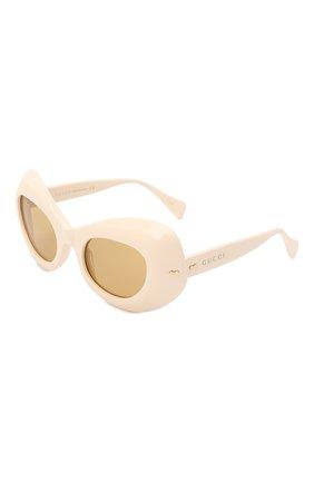Женские солнцезащитные очки GUCCI кремвого цвета, арт. 663785/J0740 | Фото 1 (Тип очков: С/з; Очки форма: Cat-eye)