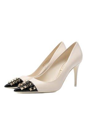Женские кожаные туфли rockstud alcove VALENTINO кремвого цвета, арт. WW0S0DF8/YGD   Фото 1 (Каблук высота: Высокий; Материал внутренний: Натуральная кожа; Подошва: Плоская; Каблук тип: Шпилька)