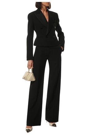 Женские кожаные туфли rockstud alcove VALENTINO кремвого цвета, арт. WW0S0DF8/YGD   Фото 2 (Каблук высота: Высокий; Материал внутренний: Натуральная кожа; Подошва: Плоская; Каблук тип: Шпилька)