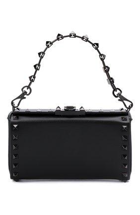 Женская сумка alcove VALENTINO черного цвета, арт. WW0B0J89/HCR | Фото 1 (Материал: Натуральная кожа; Размер: mini; Ремень/цепочка: На ремешке; Сумки-технические: Сумки top-handle)