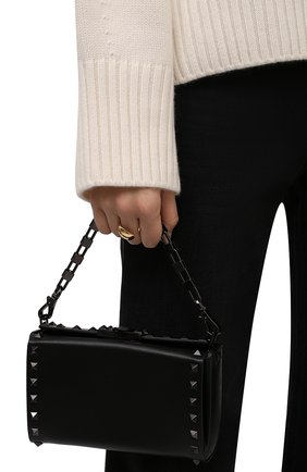 Женская сумка alcove VALENTINO черного цвета, арт. WW0B0J89/HCR   Фото 2 (Материал: Натуральная кожа; Размер: mini; Ремень/цепочка: На ремешке; Сумки-технические: Сумки top-handle)