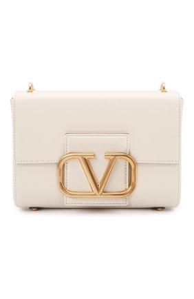 Женская сумка stud sign VALENTINO кремвого цвета, арт. WW0B0J96/CPD   Фото 1 (Материал: Натуральная кожа; Сумки-технические: Сумки через плечо; Размер: small)