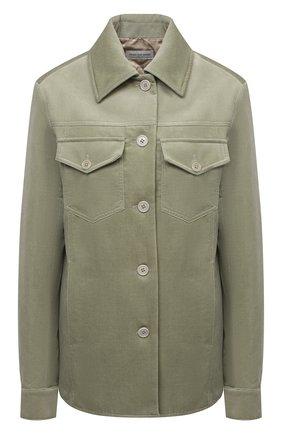 Женская хлопковая куртка DRIES VAN NOTEN зеленого цвета, арт. 212-010522-3254 | Фото 1 (Рукава: Длинные; Материал внешний: Хлопок; Длина (верхняя одежда): Короткие; Кросс-КТ: Куртка; Стили: Минимализм)