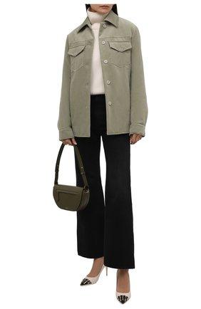 Женская хлопковая куртка DRIES VAN NOTEN зеленого цвета, арт. 212-010522-3254 | Фото 2 (Рукава: Длинные; Материал внешний: Хлопок; Длина (верхняя одежда): Короткие; Кросс-КТ: Куртка; Стили: Минимализм)