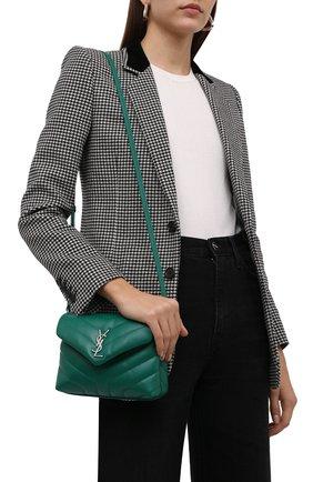 Женская сумка loulou toy SAINT LAURENT зеленого цвета, арт. 678401/DV706 | Фото 2 (Материал: Натуральная кожа; Сумки-технические: Сумки через плечо; Размер: mini; Ремень/цепочка: На ремешке)
