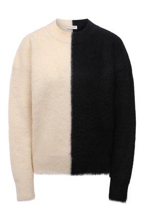Женский свитер SAINT LAURENT черно-белого цвета, арт. 678200/Y75ID   Фото 1 (Материал внешний: Шерсть; Рукава: Длинные; Длина (для топов): Стандартные; Женское Кросс-КТ: Свитер-одежда; Стили: Гламурный)