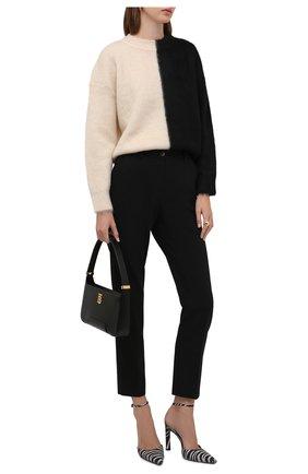 Женский свитер SAINT LAURENT черно-белого цвета, арт. 678200/Y75ID   Фото 2 (Материал внешний: Шерсть; Рукава: Длинные; Длина (для топов): Стандартные; Женское Кросс-КТ: Свитер-одежда; Стили: Гламурный)