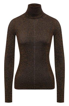 Женская водолазка SAINT LAURENT коричневого цвета, арт. 670517/Y75GI   Фото 1 (Длина (для топов): Стандартные; Материал внешний: Вискоза; Рукава: Длинные; Женское Кросс-КТ: Водолазка-одежда; Стили: Гламурный)