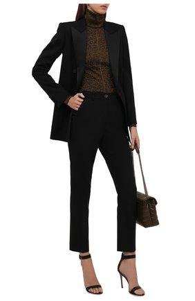 Женская водолазка SAINT LAURENT коричневого цвета, арт. 670517/Y75GI   Фото 2 (Длина (для топов): Стандартные; Материал внешний: Вискоза; Рукава: Длинные; Женское Кросс-КТ: Водолазка-одежда; Стили: Гламурный)