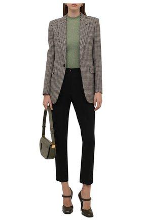 Женский пуловер из вискозы SAINT LAURENT светло-зеленого цвета, арт. 670073/Y75GK   Фото 2 (Материал внешний: Вискоза; Рукава: Длинные; Длина (для топов): Стандартные; Женское Кросс-КТ: Пуловер-одежда; Стили: Гламурный)