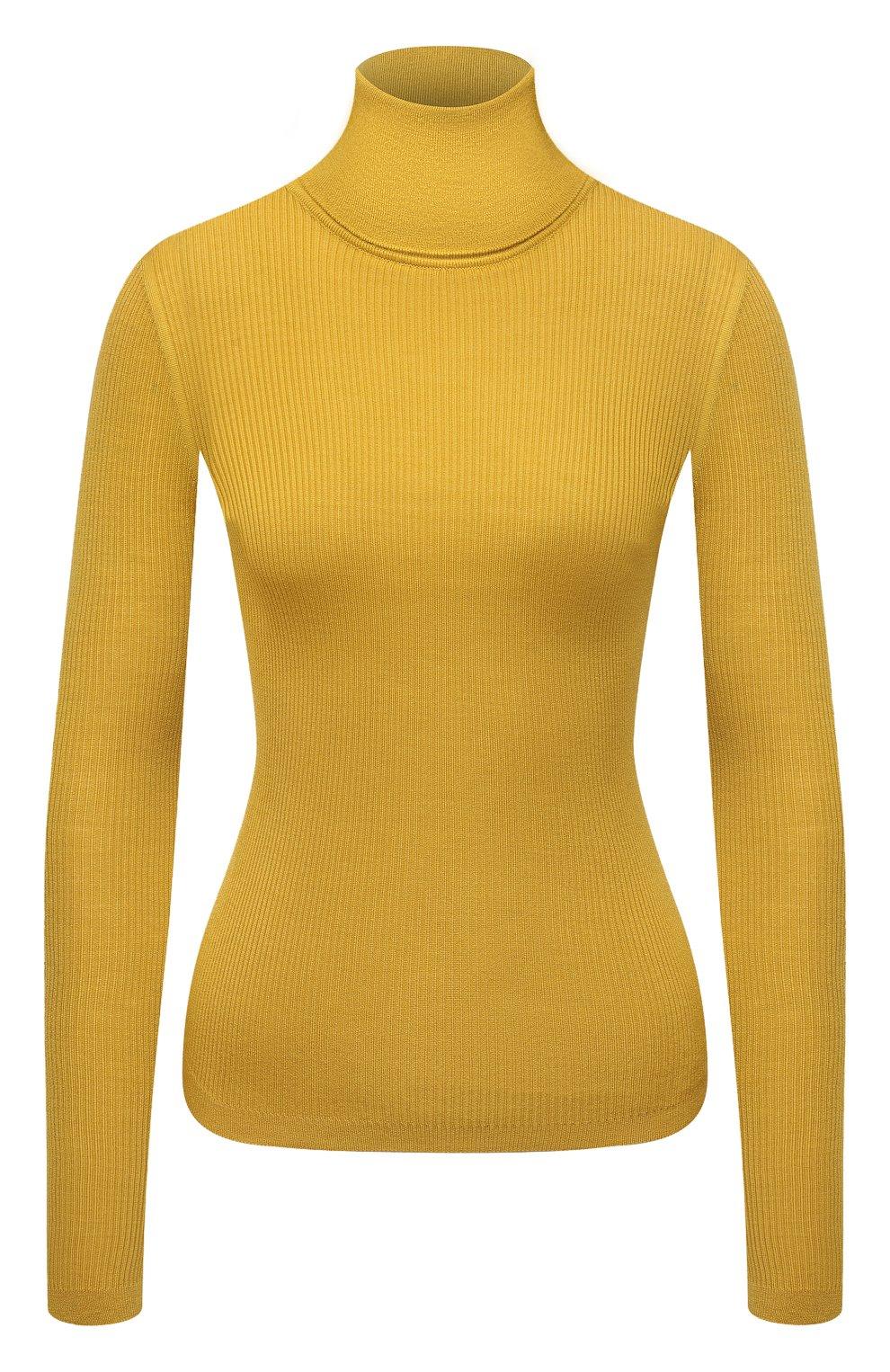 Женская водолазка из кашемира и шерсти SAINT LAURENT желтого цвета, арт. 637869/YAPK2 | Фото 1 (Женское Кросс-КТ: Водолазка-одежда; Материал внешний: Шерсть, Шелк, Кашемир; Рукава: Длинные; Стили: Гламурный; Длина (для топов): Стандартные)