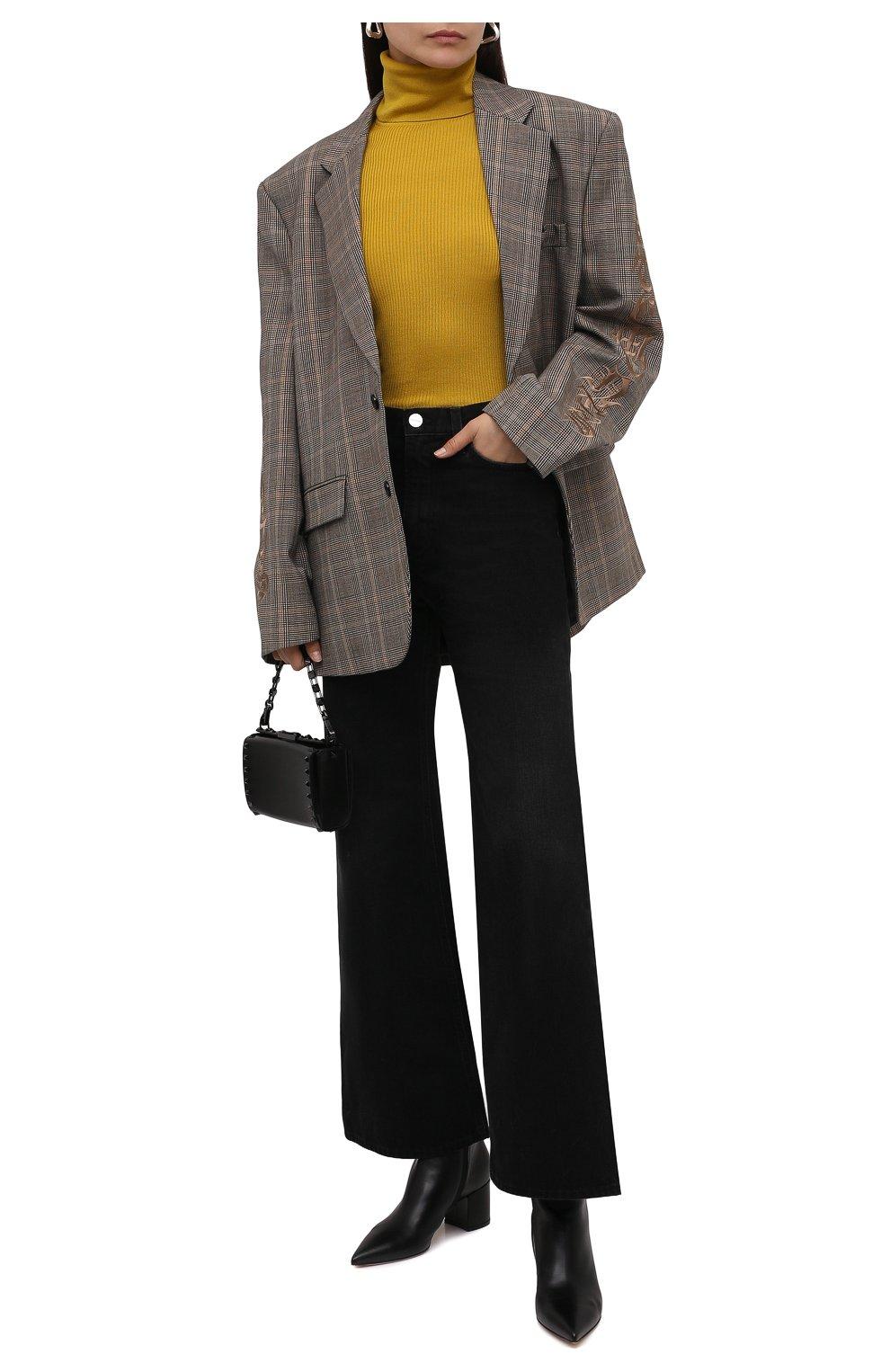 Женская водолазка из кашемира и шерсти SAINT LAURENT желтого цвета, арт. 637869/YAPK2 | Фото 2 (Женское Кросс-КТ: Водолазка-одежда; Материал внешний: Шерсть, Шелк, Кашемир; Рукава: Длинные; Стили: Гламурный; Длина (для топов): Стандартные)