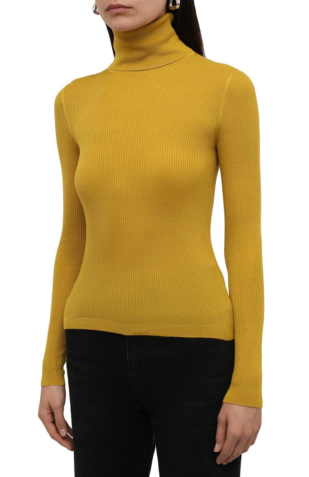 Женская водолазка из кашемира и шерсти SAINT LAURENT желтого цвета, арт. 637869/YAPK2 | Фото 3 (Женское Кросс-КТ: Водолазка-одежда; Материал внешний: Шерсть, Шелк, Кашемир; Рукава: Длинные; Стили: Гламурный; Длина (для топов): Стандартные)