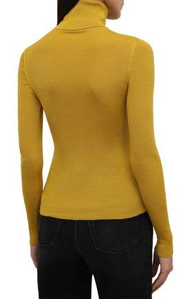 Женская водолазка из кашемира и шерсти SAINT LAURENT желтого цвета, арт. 637869/YAPK2 | Фото 4 (Женское Кросс-КТ: Водолазка-одежда; Материал внешний: Шерсть, Шелк, Кашемир; Рукава: Длинные; Стили: Гламурный; Длина (для топов): Стандартные)