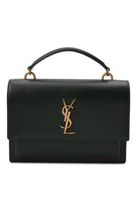 Женская сумка sunset medium SAINT LAURENT зеленого цвета, арт. 634723/D420W | Фото 1 (Материал: Натуральная кожа; Сумки-технические: Сумки top-handle; Размер: medium; Ремень/цепочка: На ремешке)