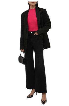 Женский пуловер SAINT LAURENT фуксия цвета, арт. 617962/YAPK2   Фото 2 (Материал внешний: Кашемир, Шерсть, Шелк; Женское Кросс-КТ: Пуловер-одежда; Рукава: Длинные; Длина (для топов): Стандартные; Стили: Гламурный)