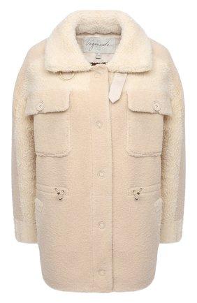 Женская куртка VEGANCODE бежевого цвета, арт. BJ18095   Фото 1 (Материал внешний: Синтетический материал; Кросс-КТ: Куртка; Рукава: Длинные; Стили: Кэжуэл; Длина (верхняя одежда): Короткие)