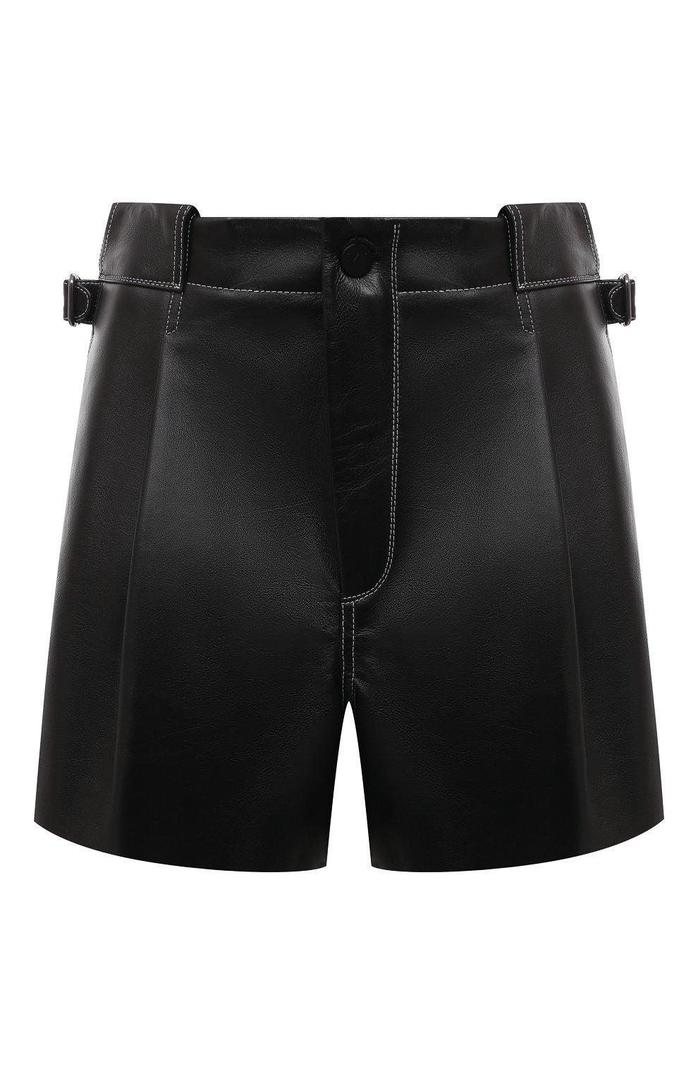 Женские кожаные шорты THE MANNEI черного цвета, арт. W21TM_SAKIB-SAKIB SH0RTS | Фото 1 (Женское Кросс-КТ: Шорты-одежда; Стили: Гламурный; Длина Ж (юбки, платья, шорты): Мини; Материал подклада: Вискоза)
