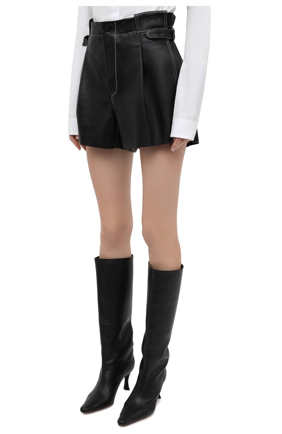 Женские кожаные шорты THE MANNEI черного цвета, арт. W21TM_SAKIB-SAKIB SH0RTS | Фото 3 (Женское Кросс-КТ: Шорты-одежда; Стили: Гламурный; Длина Ж (юбки, платья, шорты): Мини; Материал подклада: Вискоза)