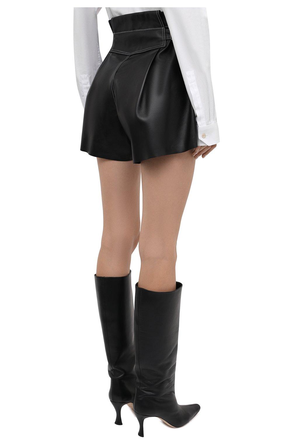 Женские кожаные шорты THE MANNEI черного цвета, арт. W21TM_SAKIB-SAKIB SH0RTS | Фото 4 (Женское Кросс-КТ: Шорты-одежда; Стили: Гламурный; Длина Ж (юбки, платья, шорты): Мини; Материал подклада: Вискоза)