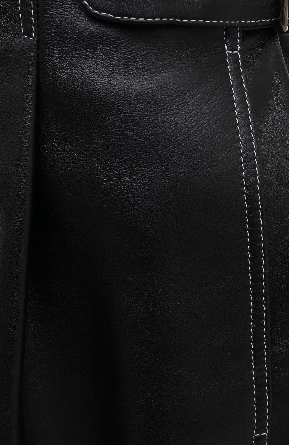 Женские кожаные шорты THE MANNEI черного цвета, арт. W21TM_SAKIB-SAKIB SH0RTS | Фото 5 (Женское Кросс-КТ: Шорты-одежда; Стили: Гламурный; Длина Ж (юбки, платья, шорты): Мини; Материал подклада: Вискоза)